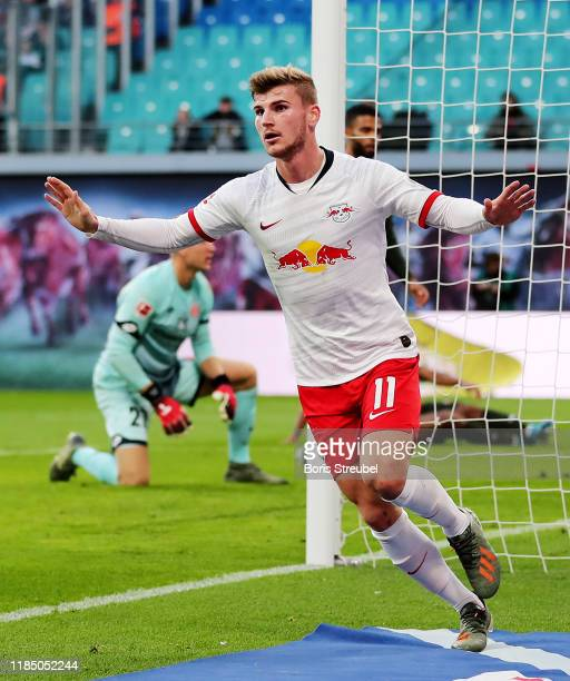 Timo Werner of RB Leipzig celebrates after scoring his team's second goal during the Bundesliga match between RB Leipzig and 1. FSV Mainz 05 at Red...