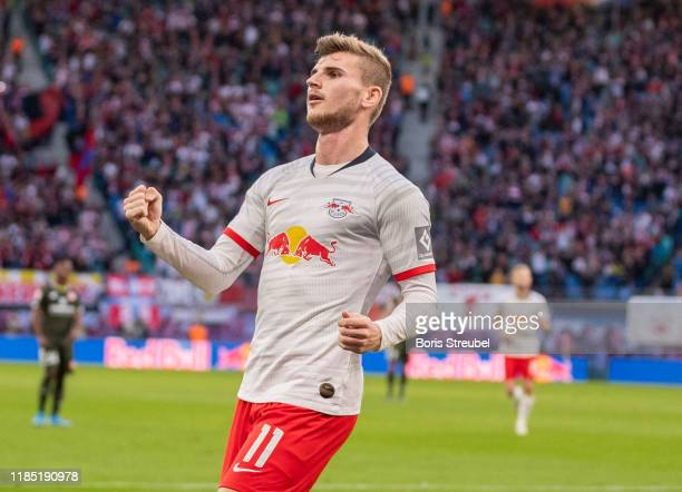 Timo Werner of RB Leipzig celebrates after scoring his team's second goal during the Bundesliga match between RB Leipzig and 1 FSV Mainz 05 at Red...