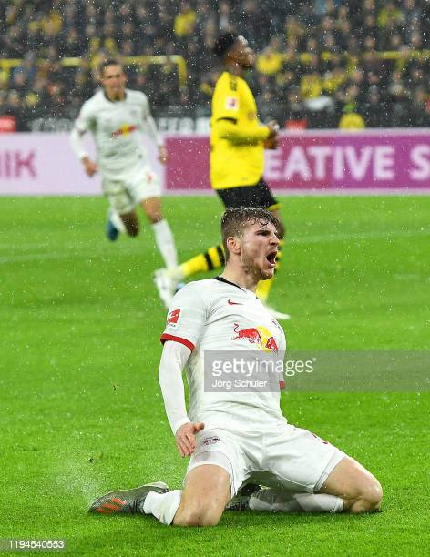 Timo Werner of RB Leipzig celebrates after scoring his team's second goal during the Bundesliga match between Borussia Dortmund and RB Leipzig at...
