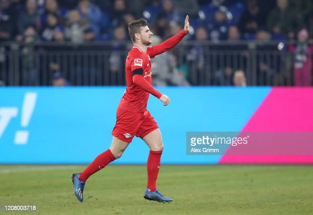 Timo Werner of RB Leipzig celebrates after scoring his teams second goal during the Bundesliga match between FC Schalke 04 and RB Leipzig at...