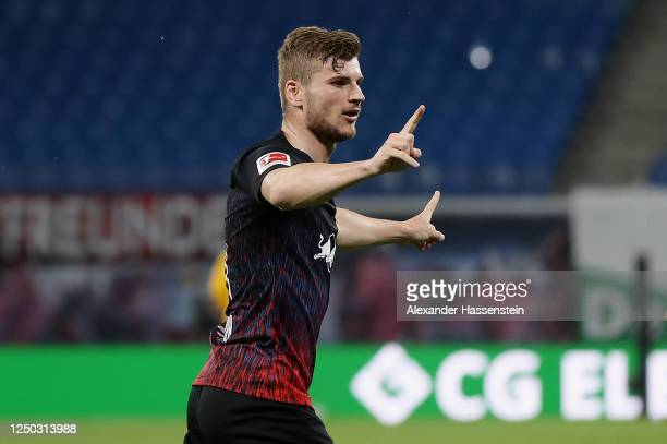 Timo Werner of RB Leipzig celebrates after scoring his team's second goal during the Bundesliga match between RB Leipzig and Fortuna Duesseldorf at...