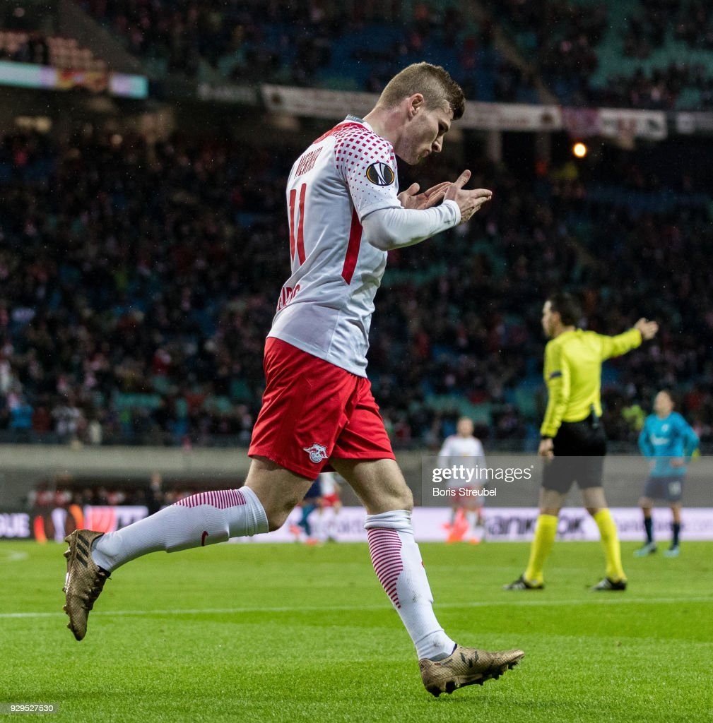 Timo Werner of RB Leipzig celebrates after scoring his team's second goal during UEFA Europa League Round of 16 match between RB Leipzig and Zenit St Petersburg at the Red Bull Arena on March 8, 2018 in Leipzig, Germany.
