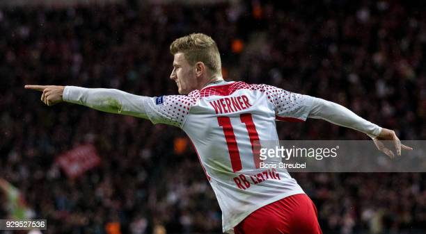Timo Werner of RB Leipzig celebrates after scoring his team's second goal during UEFA Europa League Round of 16 match between RB Leipzig and Zenit St...