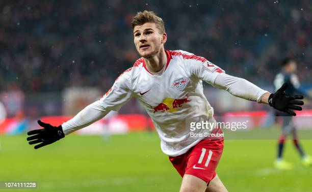 Timo Werner of RB Leipzig celebrates after scoring his team's third goal during the Bundesliga match between RB Leipzig and 1. FSV Mainz 05 at Red...