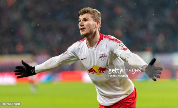 Timo Werner of RB Leipzig celebrates after scoring his team's third goal during the Bundesliga match between RB Leipzig and 1 FSV Mainz 05 at Red...