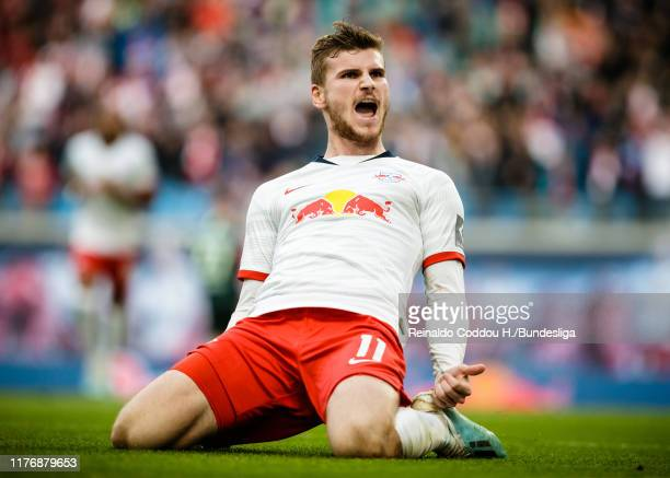 Timo Werner of RB Leipzig celebrates his goal during the Bundesliga match between RB Leipzig and VfL Wolfsburg at Red Bull Arena on October 19, 2019...