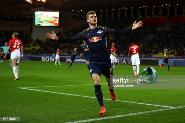 Timo Werner of RB Leipzig celebrates scoring his sides second goal during the UEFA Champions League group G match between AS Monaco and RB Leipzig at...