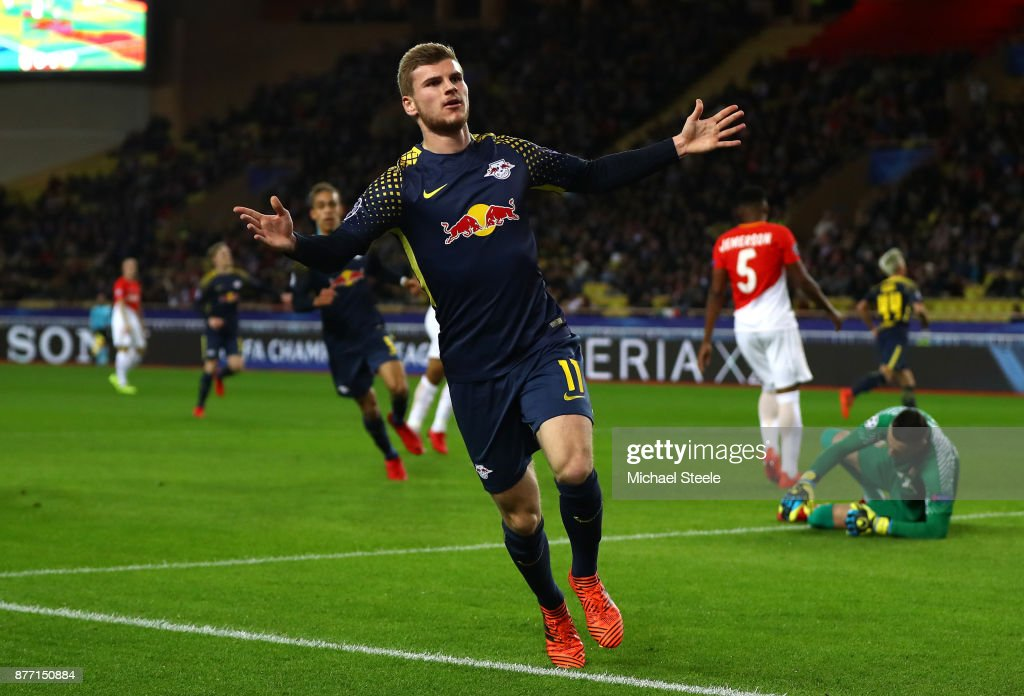 Timo Werner of RB Leipzig celebrates scoring his sides second goal during the UEFA Champions League group G match between AS Monaco and RB Leipzig at Stade Louis II on November 21, 2017 in Monaco, Monaco.