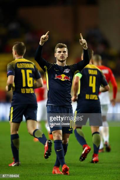 Timo Werner of RB Leipzig celebrates scoring his sides third goal during the UEFA Champions League group G match between AS Monaco and RB Leipzig at...