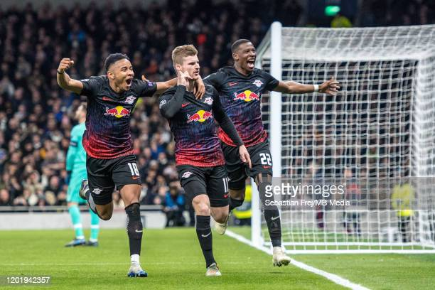 Timo Werner of RB Leipzig celebrates with his team mates Christopher Nkunku and Nordi Mukieleduring after scoring the first goal during the UEFA...