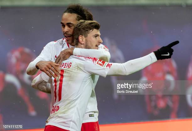 Timo Werner of RB Leipzig celebrates with team mates after scoring his team's third goal during the Bundesliga match between RB Leipzig and 1 FSV...