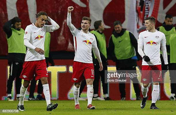 Timo Werner of RB Leipzig celebrates with team mates after scoring his team's second goal during the Bundesliga match between RB Leipzig and...
