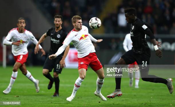Timo Werner of RB Leipzig challenges for the ball with Danny Da Costa of Eintracht Frankfurt during the Bundesliga match between Eintracht Frankfurt...