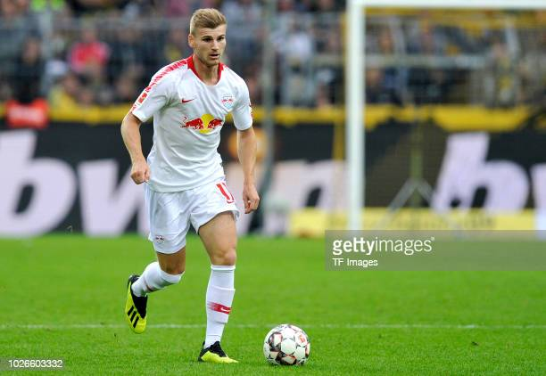 Timo Werner of RB Leipzig controls the ball during the Bundesliga match between Borussia Dortmund and RB Leipzig at Signal Iduna Park on August 26...
