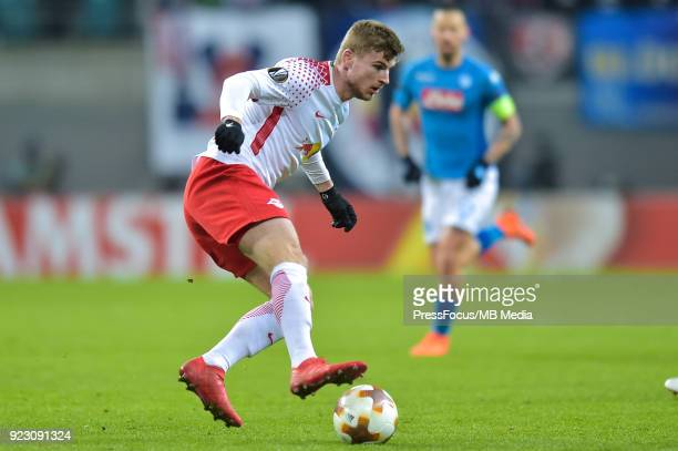 Timo Werner of RB Leipzig during UEFA Europa League Round of 32 match between RB Leipzig and Napoli at the Red Bull Arena on February 22 2018 in...