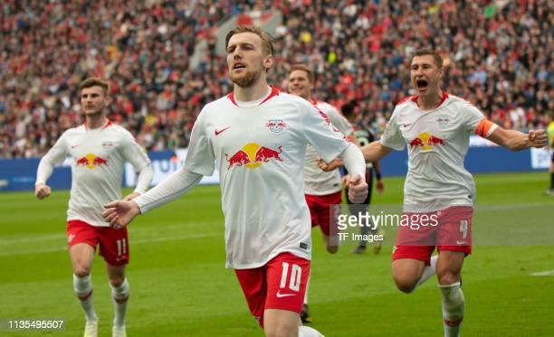 Timo Werner of RB Leipzig Emil Forsberg of RB Leipzig Willi Orban of RB Leipzig celebrate during the Bundesliga match between Bayer 04 Leverkusen and...
