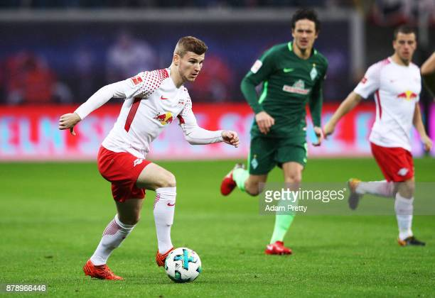 Timo Werner of RB Leipzig in action during the Bundesliga match between RB Leipzig and SV Werder Bremen at Red Bull Arena on November 25 2017 in...