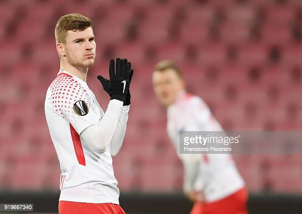 Timo Werner of RB Leipzig in action during UEFA Europa League Round of 32 match between Napoli and RB Leipzig at the Stadio San Paolo on February 15...