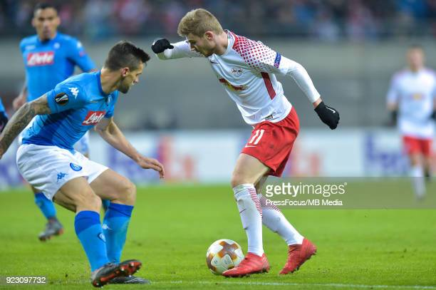 Timo Werner of RB Leipzig in action during UEFA Europa League Round of 32 match between RB Leipzig and Napoli at the Red Bull Arena on February 22...