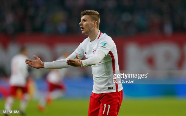 Timo Werner of RB Leipzig reacts during the Bundesliga match between RB Leipzig and Hamburger SV at Red Bull Arena on February 11 2017 in Leipzig...