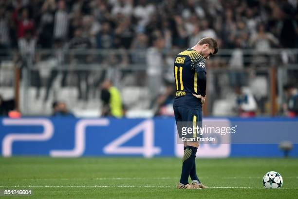 Timo Werner of RB Leipzig reacts during the UEFA Champions League Group G match between Besiktas and RB Leipzig at Besiktas Park on September 26,...