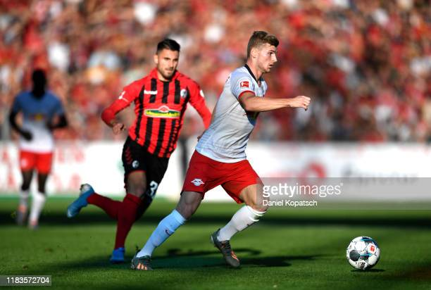 Timo Werner of RB Leipzig runs with the ball during the Bundesliga match between Sport-Club Freiburg and RB Leipzig at Schwarzwald-Stadion on October...