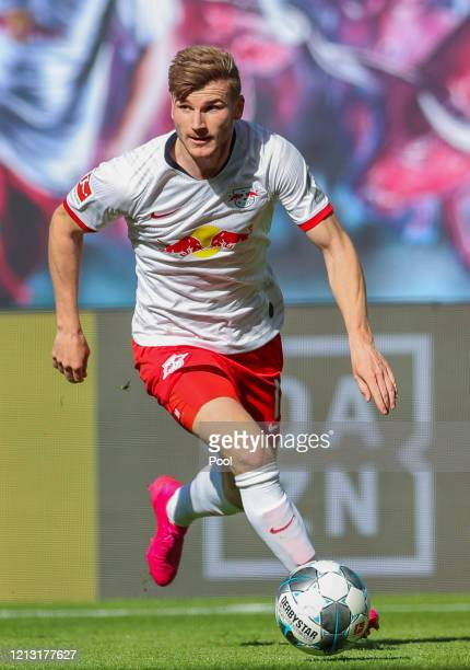 Timo Werner of RB Leipzig runs with the ball during the Bundesliga match between RB Leipzig and Sport-Club Freiburg at Red Bull Arena on May 16, 2020...