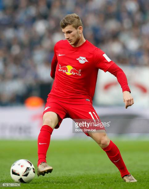 Timo Werner of RB Leipzig runs with the ball during the Bundesliga match between Hertha BSC and RB Leipzig at Olympiastadion on May 6 2017 in Berlin...