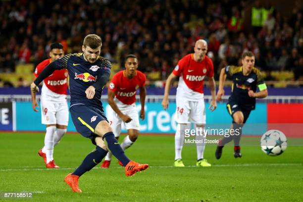 Timo Werner of RB Leipzig scores his sides third goal during the UEFA Champions League group G match between AS Monaco and RB Leipzig at Stade Louis...
