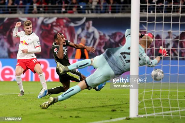 Timo Werner of RB Leipzig scores his team's eighth goal during the Bundesliga match between RB Leipzig and 1. FSV Mainz 05 at Red Bull Arena on...