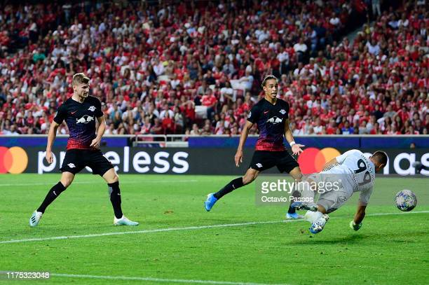 Timo Werner of RB Leipzig scores his team's second goal past Odisseas Vlachodimos of Benfica during the UEFA Champions League group G match between...