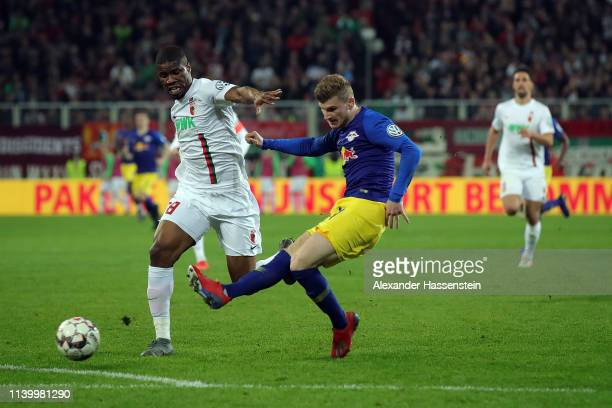 Timo Werner of RB Leipzig scores the first goal during the DFB Cup match between FC Augsburg and RB Leipzig at WWKArena on April 02 2019 in Augsburg...