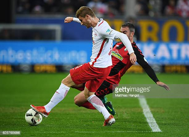 Timo Werner of RB Leipzig scores the second goal for RB Leipzig during the Bundesliga match between SC Freiburg and RB Leipzig at SchwarzwaldStadion...