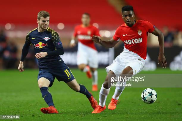Timo Werner of RB Leipzig tracks Jemerson of Monaco during the UEFA Champions League group G match between AS Monaco and RB Leipzig at Stade Louis II...