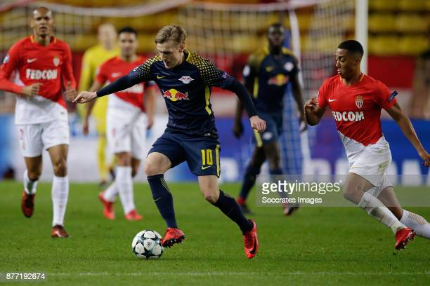 Timo Werner of RB Leipzig Youri Tielemans of AS Monaco during the UEFA Champions League match between AS Monaco v RB Leipzig at the Stade Louis II on...