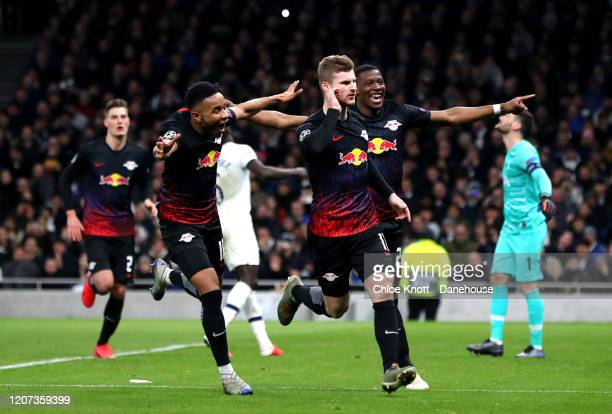 Timo Werner of RB Leipzigcelebrates scoring his teams first goal during the UEFA Champions League round of 16 first leg match between Tottenham...