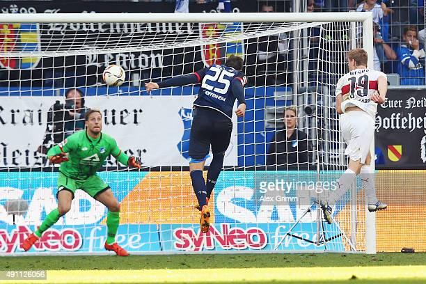 Timo Werner of Stuttgart celebrates his team's second goal against Niklas Suele and Goalkeeper Oliver Baumann of Hoffenheim during the Bundesliga...