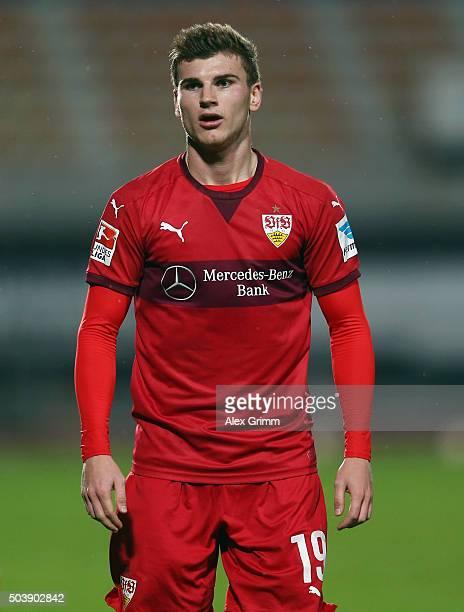 Timo Werner of Stuttgart reacts during a friendly match between VfB Stuttgart and Antalyaspor at Akdeniz Universitesi on January 7, 2016 in Antalya,...