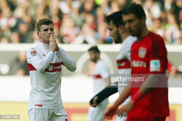 Timo Werner of Stuttgart reacts during the Bundesliga match between VfB Stuttgart and Bayer Leverkusen at MercedesBenz Arena on March 20 2016 in...