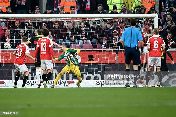 Timo Werner of Stuttgart scores his team's second goal from a header during the Bundesliga match between 1 FC Koeln and VfB Stuttgart at...