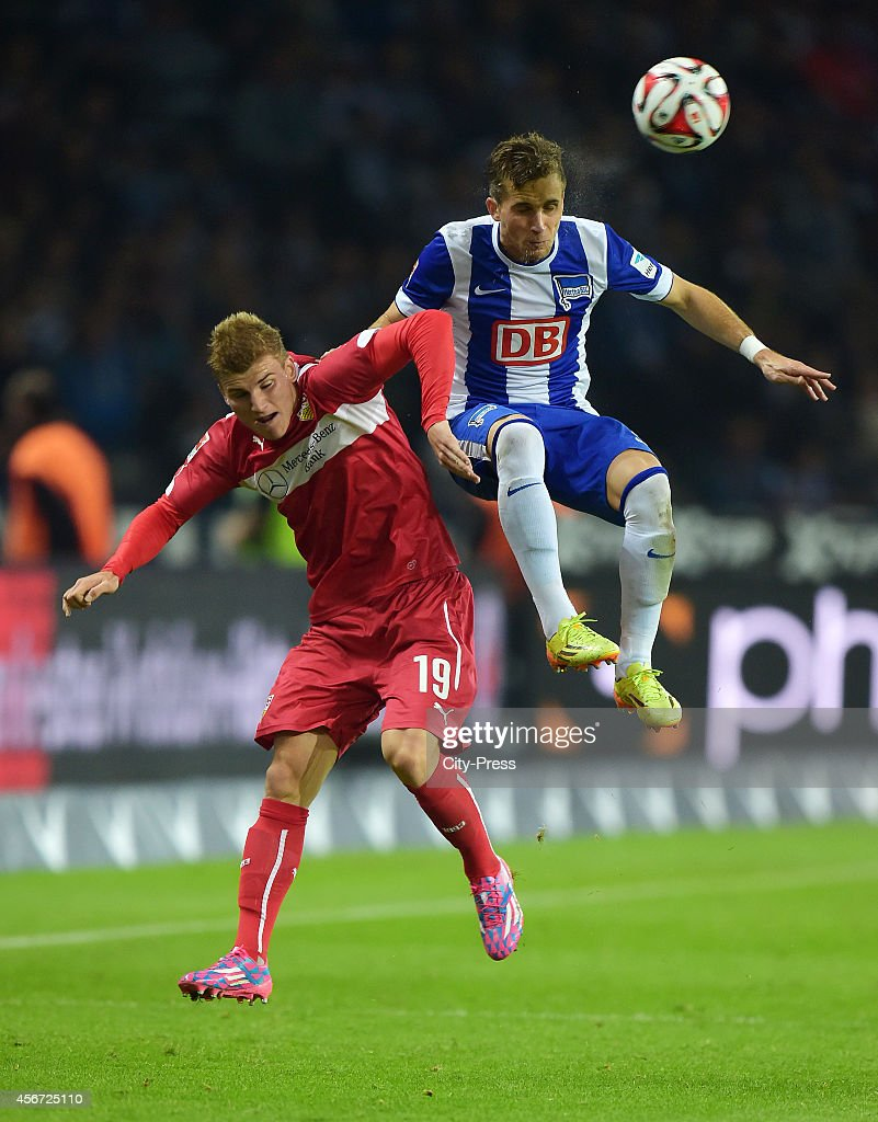 Timo Werner of VfB Stuttgart and Peter Pekarik of Hertha BSC during the game between Hertha BSC and VfB Stuttgart on october 3, 2014 in Berlin, Germany.