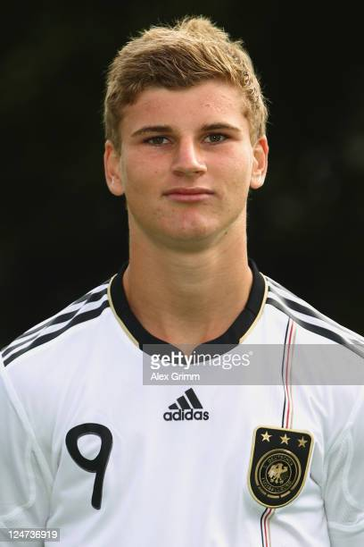 Timo Werner poses during the team presentation of the German U16 football national team at Sportschule Kaiserau on September 12 2011 in Kamen Germany