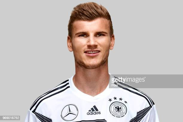 Timo Werner poses for a photo during a portrait session ahead of the 2018 FIFA World Cup Russia at Eppan training ground on June 5 2018 in Eppan Italy
