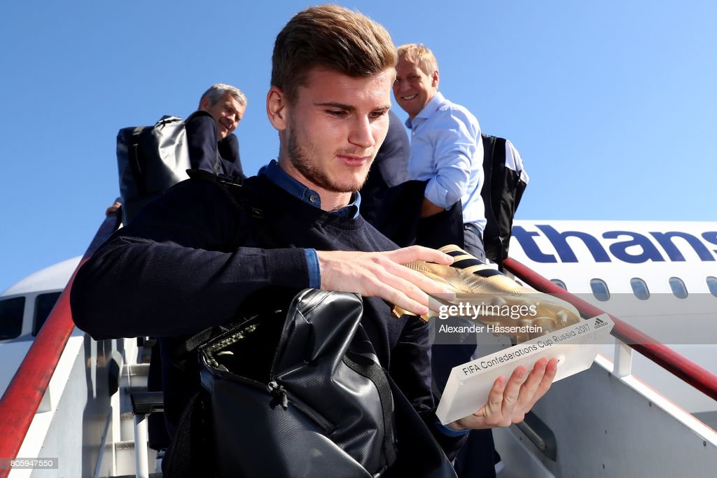 Timo Werner presents the golden shoe trophy prior to the departure of Germany at Sankt Petersburg Pulkovo Airport Airport on July 3, 2017 in Saint Petersburg, Russia.