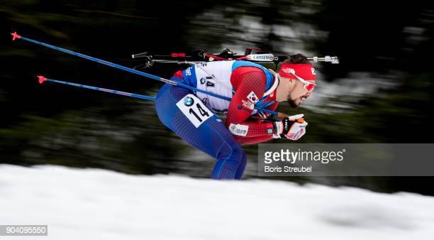 Timofei Lapshin of Korea competes during the 125 km IBU World Cup Biathlon Oberhof men's Persuit on January 7 2018 in Oberhof Germany