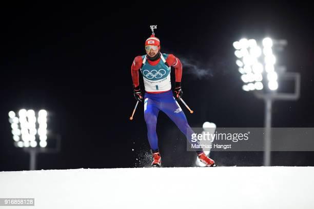 Timofei Lapshin of Korea competes during the Men's 10km Sprint Biathlon on day two of the PyeongChang 2018 Winter Olympic Games at Alpensia Biathlon...