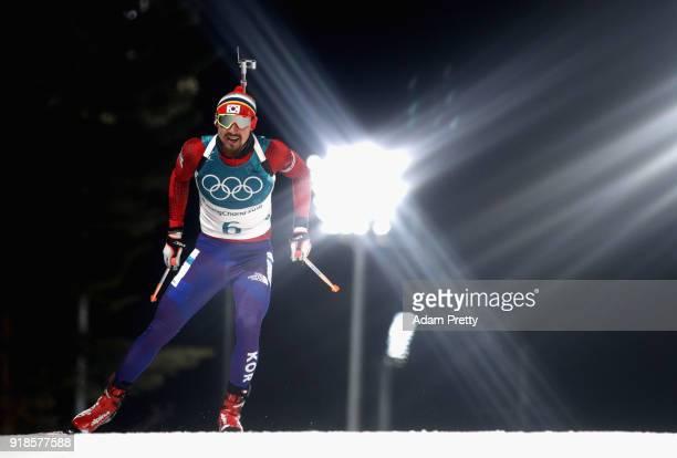 Timofei Lapshin of Korea competes during the Men's 20km Individual Biathlon at Alpensia Biathlon Centre on February 15 2018 in Pyeongchanggun South...