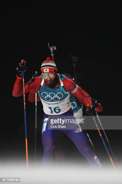Timofei Lapshin of Korea competes during the Men's Biathlon 125km Pursuit on day three of the PyeongChang 2018 Winter Olympic Games at Alpensia...