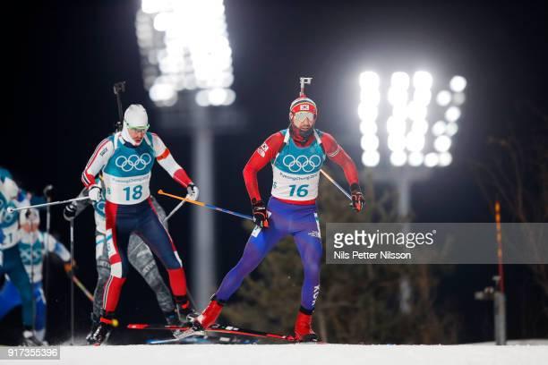 Timofei Lapshin of Korea during the Mens Biathlon 125km Pursuit at Alpensia Biathlon Centre on February 12 2018 in Pyeongchanggun South Korea