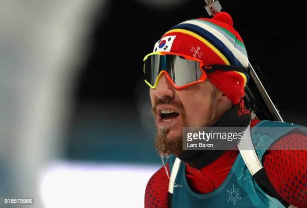 Timofei Lapshin of Korea finishes during the Men's 20km Individual Biathlon at Alpensia Biathlon Centre on February 15 2018 in Pyeongchanggun South...